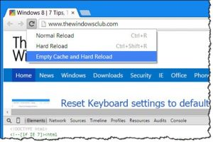Clear the cache and reload the webpage