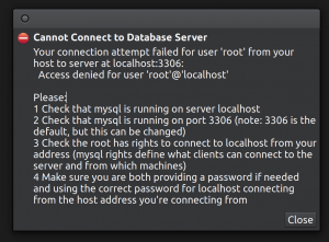 Connect as root to the database