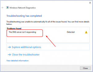 DNS server is not responding on Windows 10