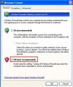 Disable Firewall For Fixing Error 0x80072efd