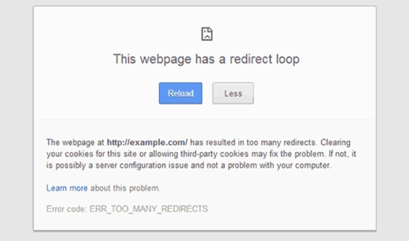 Err too many redirects On Chrome / WordPress / Gmail