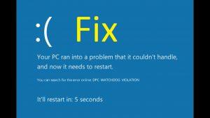 Fix a DPC Watchdog Violation error in Windows 10