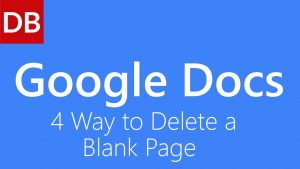 How To Delete A Page On Google Docs