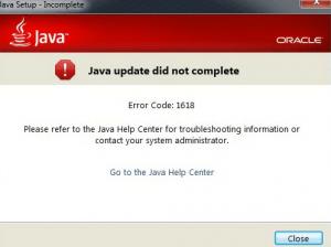 Java error code 1618