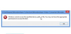 Windows cannot access the specified device, path, or file