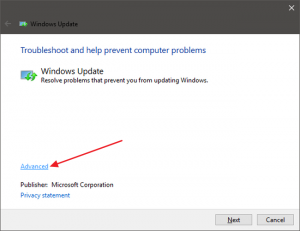 Running Troubleshooting on Windows Update