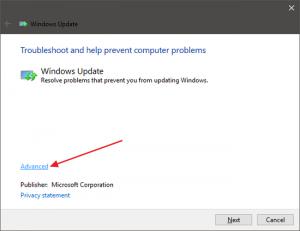 Running Troubleshooting on Windows Update