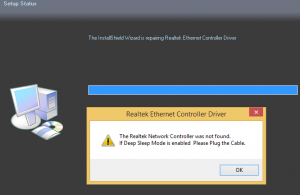 The Realtek Network Controller was not found