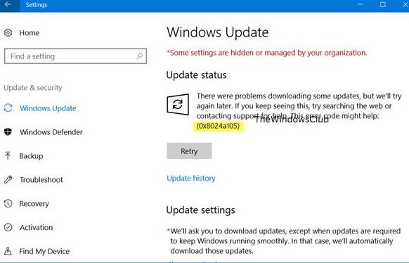 error 0x8024a105 in windows 10