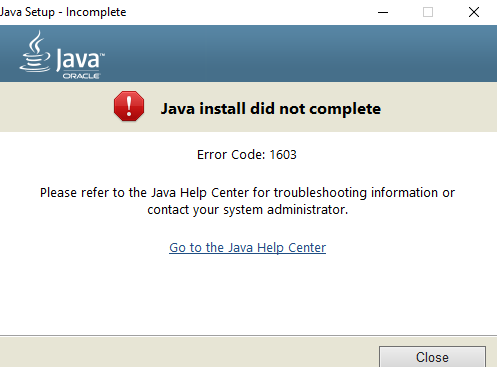 error code 1603 – The installation or Update of Java is Not Completed