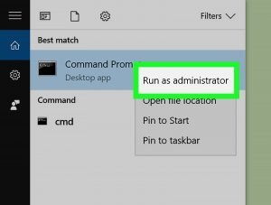 run a command prompt on Windows as an administrator