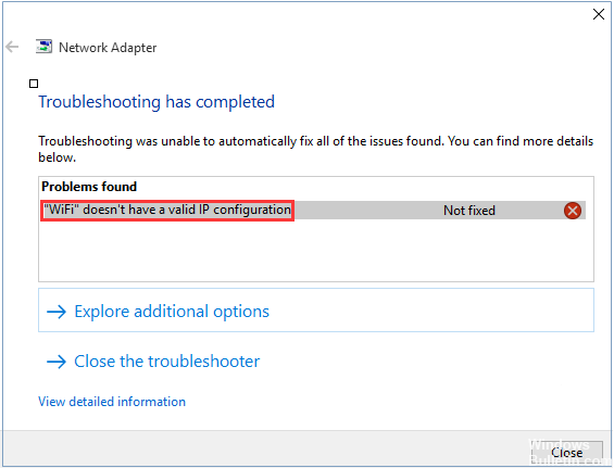 Solution to Ethernet does not have a valid IP configuration in Windows