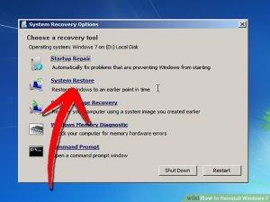 Reinstall the windows operating system
