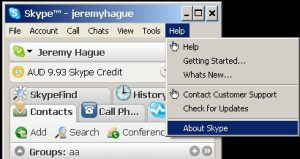 Check the version of Skype