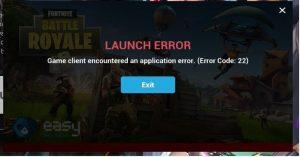 Fortnite Error code 22