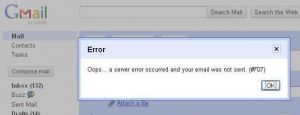 gmail oops a server error occurred 007